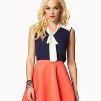 Colorblocked Neck-Tie Shirt | FOREVER 21 - 2049160157