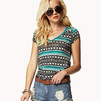 Tribal-Inspired Linen Tee | FOREVER 21 - 2045479827