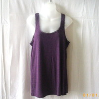 Gap purple XL cotton & polyester cami tank top with lace edging