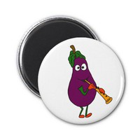 AY- Eggplant Playing Clarinet Cartoon Magnet from Zazzle.com