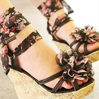 Floral Lace-Up Wedges from UrbanPUF