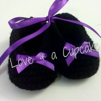 Black with purple bow baby booties Sizes Newborn to 12 months