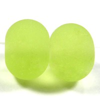 Lampwork Beads Etched Yellow Green Handmade Beads Frosted Sea Glass