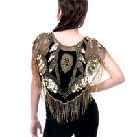 20's Style Deco Beaded Gold on Black Capelet - One Size - Unique Vintage - Prom dresses, retro dresses, retro swimsuits.
