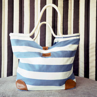 Cruiser Blue and White Stripes Hobo Bag