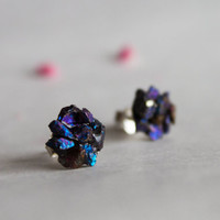 Chalcopyrite aka Peacock Ore Flower stud earrings - Gemstone post stud earring