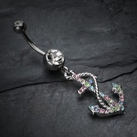Glistening Gem Anchor Dock Belly Button Ring