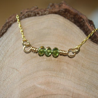 Czech Glass Bead Bracelet in Green and Gold, Brass