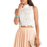 Crochet Mock Neck Crop Top: Charlotte Russe