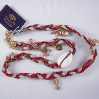 Disney Couture Red Braided Leather Wrap w/Charms