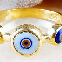 TRADITIONAL TURKISH EVIL EYE RING GOLD PLATED OVER SILVER