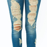 distressed-skinny-jeans BLUE - GoJane.com