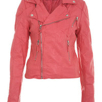 Neon Pink Seam Detail Biker - Miss Selfridge
