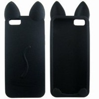 Amazon.com: Cute 3D Cartoon Cat Silicone Case Cover Skin for iPhone 5 Black: Cell Phones & Accessories