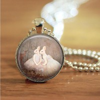 rabbit humans sisters woodland forest glass necklace keychain