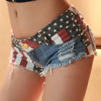 American Flag Jeans Shorts