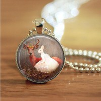 bunny human with deer in forest glass necklace keychain
