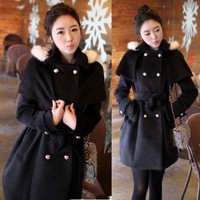 Womens Double Breasted Trenchcoat Detachable Cape Hoodie Outerwears Solids New