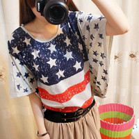 Ladies Top Women T Shirt Batwing American USA Flag Print Stars Stripes Summers