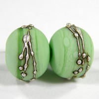 Etched Glass Bead Grasshopper Green Handmade Lampwork Bead Fine Silver