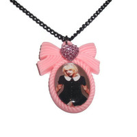 Courtney Love Necklace, Pink Hole Cameo Necklace, Grunge, 90&#x27;s Icon