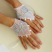 White Lace Bridal Wrist Charm Cuffs, Silver Rose Flower Glittered Guipure Lace. Handmade