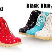3710 Japan Women Ladies Bling Bling Vintage Lace Up Short Boots Shoes 34-39