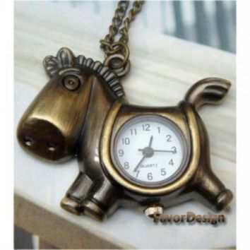 Pretty Retro Copper Horse Pocket Watch Necklace Pendant Vintage Style