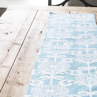 Fabric Table Runner - Wedding Inspired Blue with White Blooms - READY to SHIP - Free US Shipping