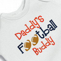 Daddy&#x27;s Football Buddy Onesuit Creeper Bodysuit  Embroidered Boy