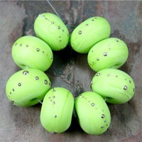 Etched Beads Pea Green Lampwork Beads Handmade Glass Beads Lime Silver