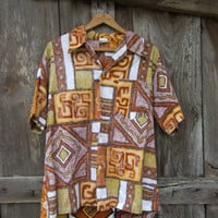 60s Reverse Print Hawaiian Shirt, Men&#x27;s M-L // Vintage Tropical Tiki Aloha Hawaii Shirt // Kama&#x27;aina Shirt by Garment Factory To You Inc