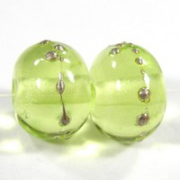 Transparent Bead Yellow Green Handmade Lampwork Bead Fine Silver Shiny