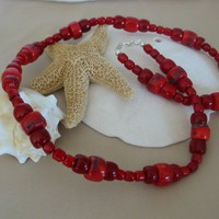 Red Drum Coral Necklace | pattysdreamdesigns - Jewelry on ArtFire