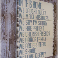 In This Home House Rules Antiqued Plank by cellardesigns on Etsy