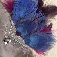 Handmade Royal Blue Fascinator with Peacock feathers and rhinestone   peaceloveandallthingsjewelry - Accessories on ArtFire