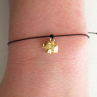 GOOD LUCK ELEPHANT Wish Bracelet 24k Gold by Jennasjewelrydesign