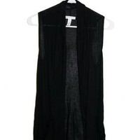 Long Black Light Vest
