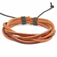 Leather bracelet with brown leather and hemp ropes woven cuff bracelet for men or women wrist bracelet  d-349