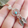 Turquoise Blue Beaded Dream Catcher Belly Button Jewelry Ring