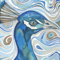 Peacock 4 x 6 print of hand painted detailed watercolour artwork in deep rich blues and whimsical earth tones