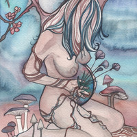 Watercolour Pregnant Earth Mother 4 x 6 print of detailed artwork with autumn mushrooms spring cherry blossoms summer flowers winter sky