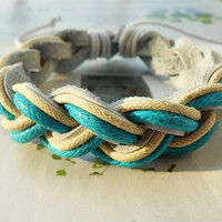 Summer Gift Fashion Blue and White Cotton ropes Wrap Weaved White Leather Wrap Bracelet W-62