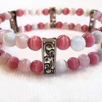 Pink Beaded Cuff Bracelet, Cats Eye Beads, Jewelry