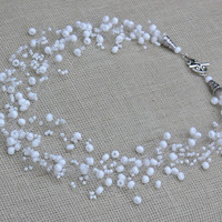 White Necklace. Wedding Necklace. Beadwork. Beaded Multistrand Necklace.