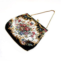 Vintage Needlepoint Purse / Floral Tapestry Handbag