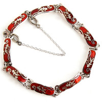 Vintage Sterling Silver Siam Bracelet - Red Enamel Thai Panel Retro Jewelry / Dancing Goddesses