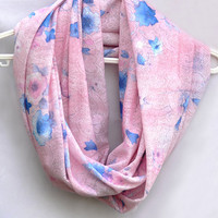 Floral Circle Scarf. Pink Infinity Scarf. Tube Scarf. Eternity Scarf. Women Accessories
