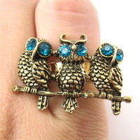 Adjustable Owl Animal Ring in Bronze with Rhinestone Eyes from Dotoly