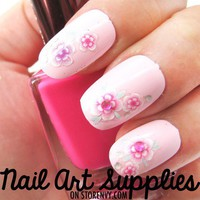 nailartsupplies | Pink Floral Rhinestone DIY Nail Art Decal Sticker | Online Store Powered by Storenvy